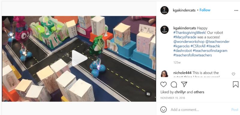Still of kgakindercats Instagram post on classroom robotics