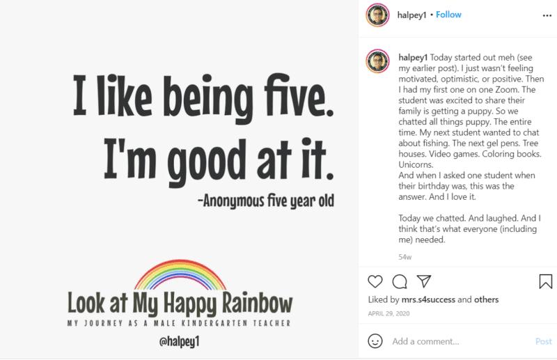 "Still of teacher post ""I like being five I'm good at it"""