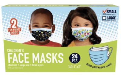 Kids patterned disposable face masks