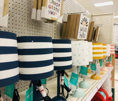 Kids lamps with stripes and polka dots at Target