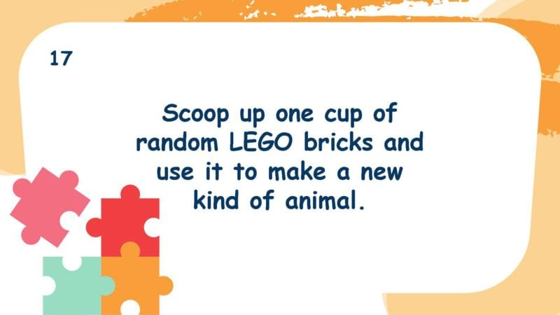 Scoop up one cup of random LEGO bricks and use it to make a new kind of animal.