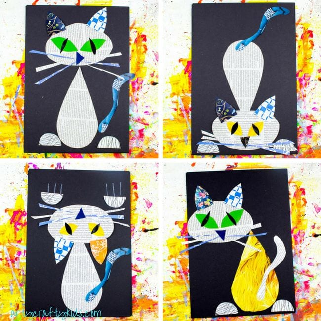 Cute cats made from shapes cut out of newspaper and magazines (Kindergarten Art)