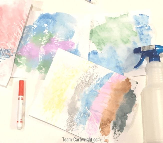 Pastel abstract art made with markers and water spray bottle