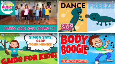 Collage of stills from kindergarten brain breaks videos