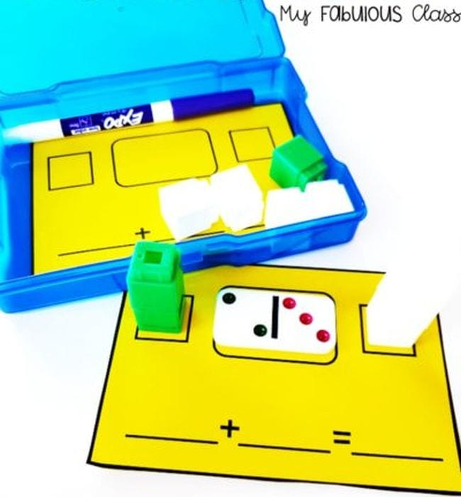 Yellow card with domino showing two and three and blocks representing two and three (Kindergarten Math Games)