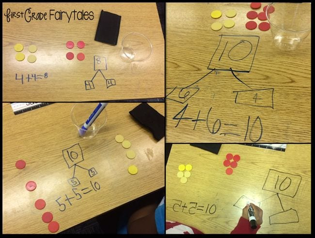 Collage of math problems written on desks, with double sided chips representing each number (Kindergarten Math Games)