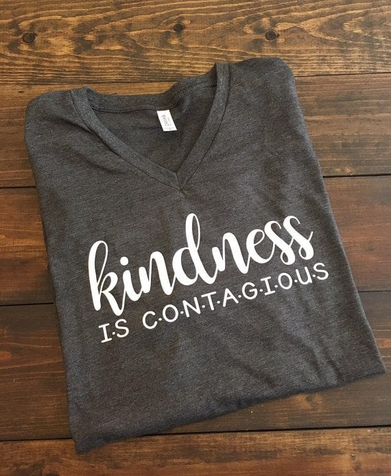 Grey kindness is contagious teacher shirt, as an example of Etsy teacher shirts