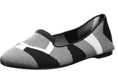 Black and white knit flats
