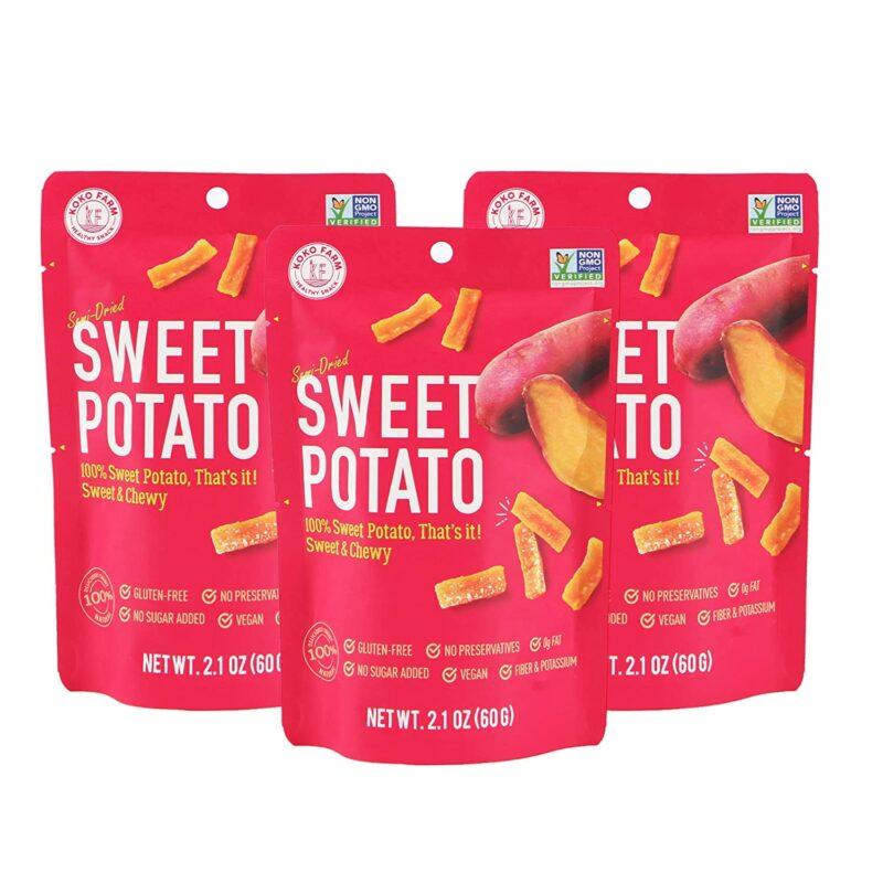 KOKO FARM Yarı Kurutulmuş Tatlı Patates Atıştırmalığı, ruh halini yükselten yiyeceklere örnek olarak gösteriliyor