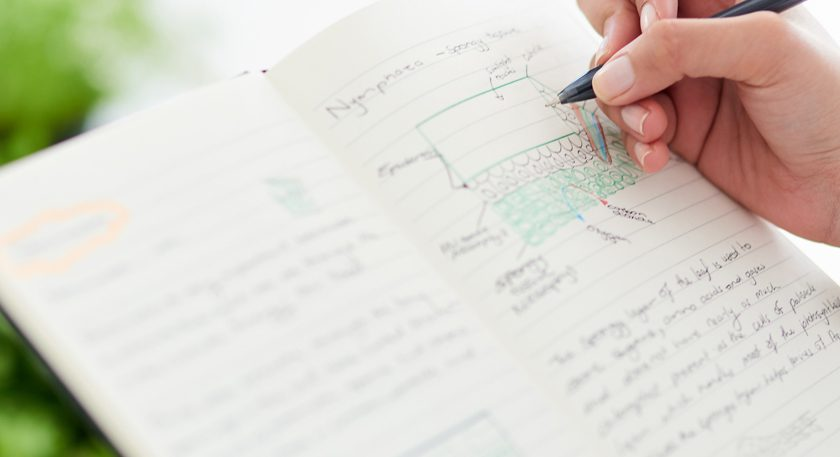 Science notebook with pen in hand