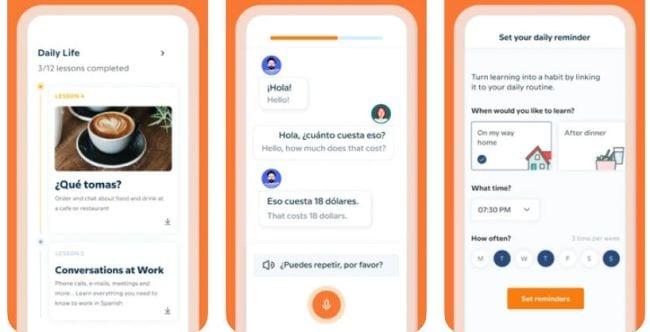 Screenshots of the Babbel language learning app