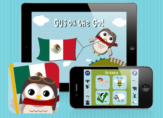 Screen shots of the Gus on the Go language learning apps