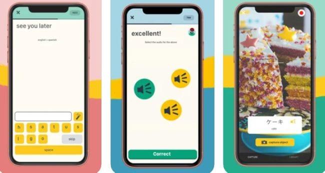 Screenshots of the Memrise language app