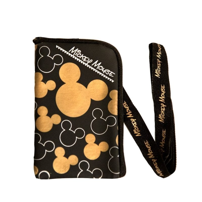 Disney Mickey Mouse Black Gold Lanyard with Cell Phone Case or Coin Purse
