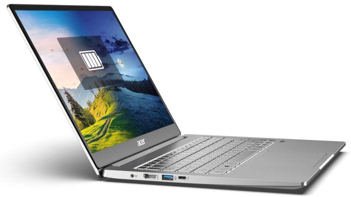 Acer Swift 3 Laptop open to show keyboard and screen