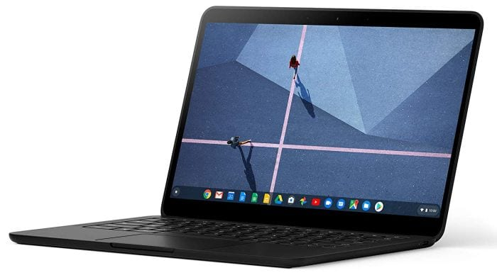 Google Pixelbook Go laptop open to show screen and keyboard