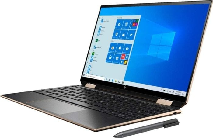 HP Spectre x360 laptop with stylus, open to show screen and keyboard (Best Laptops for Teachers)