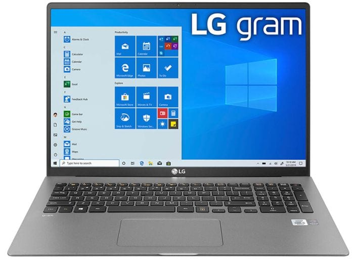 LG Gram 17 laptop open to show screen and keyboard