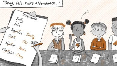 """Illustrated black, white, and orange cartoon of four students with text """"Okay, let's take attendance"""" and a clipboard with names crossed out"""