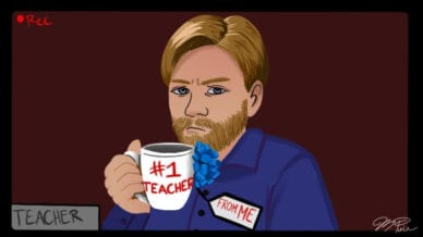Remote teacher with #1 Teacher mug and From: Me tag