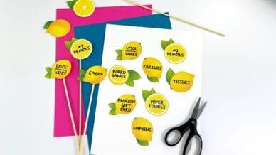 Lemon cut outs printed and flat lay.