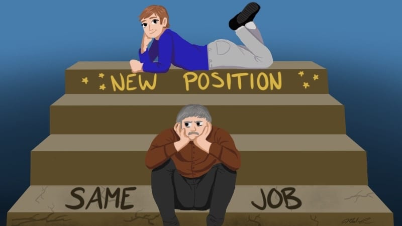 """Young teacher on top stair with text """"New Position"""" and older teacher on bottom step with text """"Same Job"""""""