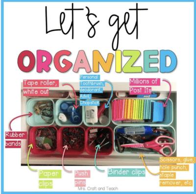 teacher drawer organization with cups