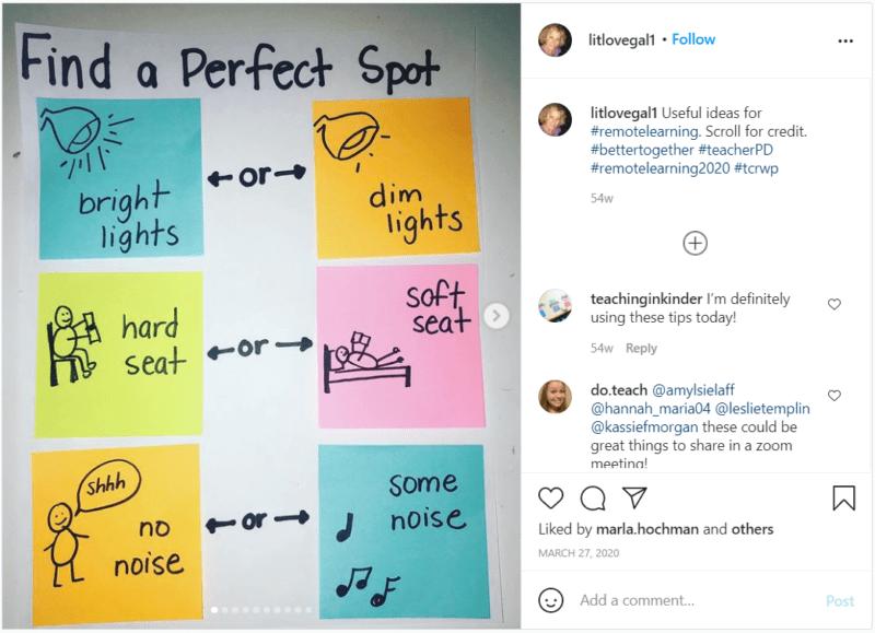 Still of tips for teaching third grade online from litlovegal1 Instagram post