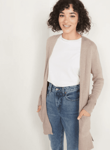 Long line tan cardigan with pockets from Old Navy
