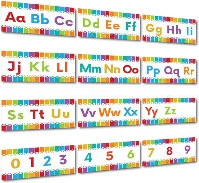 Colorful strips of paper with the alphabet written in uppercase and lowercase letters.