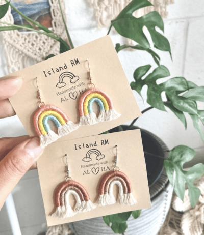 Macrame mini rainbow earrings