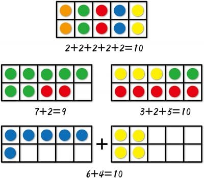 Math game with colored tiles.