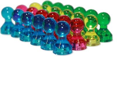 Colored acrylic push pin magnets.