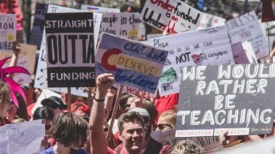 Teacher Protest Signs from CO and AZ