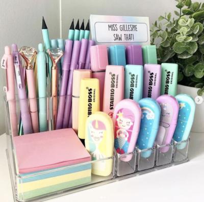 Makeup organizer on teacher desk