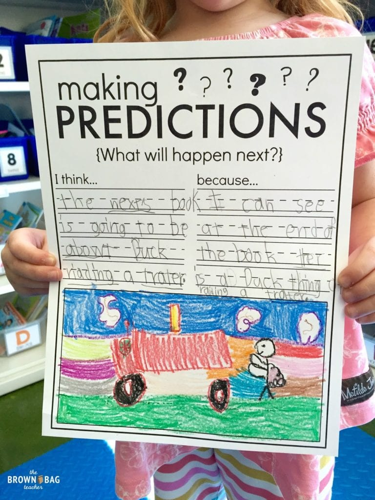 Student worksheet on making predictions wiht colorful illustration