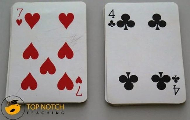 Two playing cards shown face up (Math Card Games)
