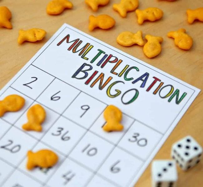 Worksheet labeled Multiplication Bingo with a pair of dice and goldfish crackers (Math Facts Practice)