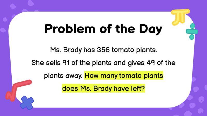 Subtraction third grade math word problem