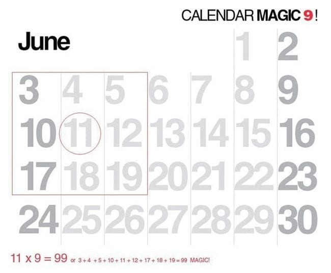 June calendar with a set of nine dates outlined to form a square (Math Puzzles)
