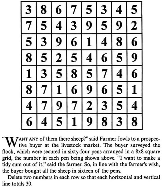 8x8 grid with single-digit number in each square
