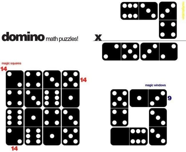 Dominos arranged in a series of math puzzles and patterns