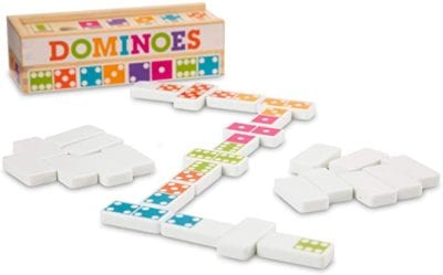 Game box and colorful dot dominoes laid out in a matching configuration