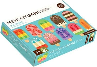 Box for Petit Collage Ice Pops Memory Game showing popsicles of various patterns and colors for children to match