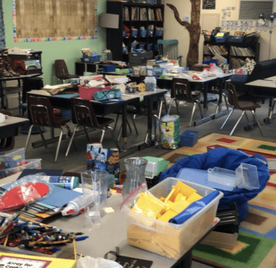 Messy classroom before photo