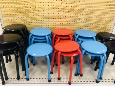 Black, blue, and red metal kids stools at Target