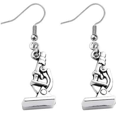 Microscope silver dangle earrings