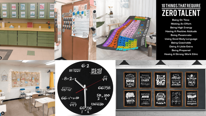Collage of middle school classroom decor including a clock, periodic table blanket, posters, and more.