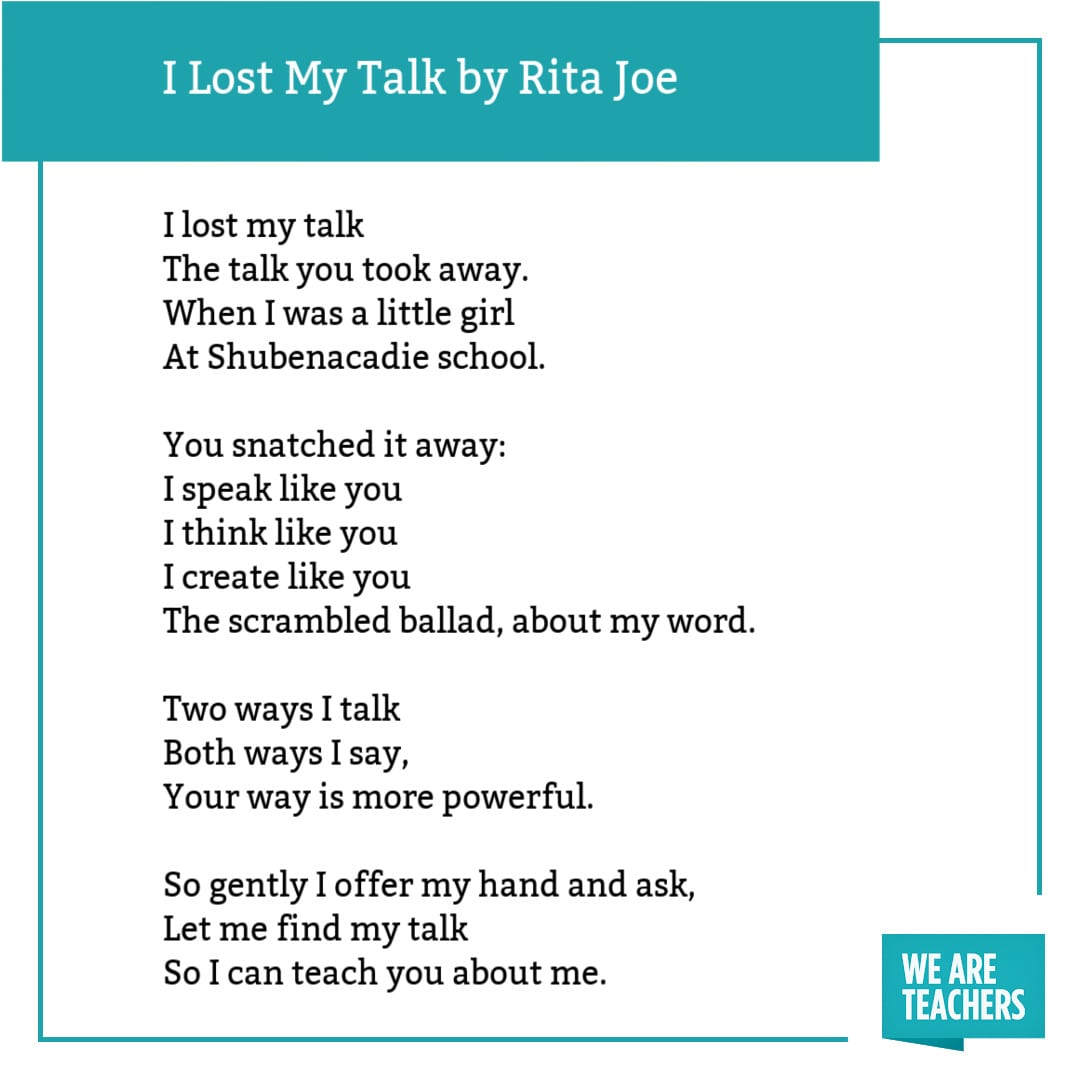 I Lost My Talk by Rita Joe