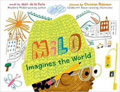 Book cover for Milo Imagines the World as an example of children's books that teach social skills